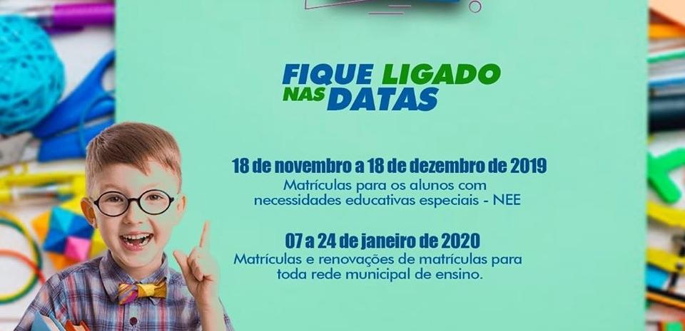 Atenção!!!!!! as matrículas da rede municipal de ensino vai começar!