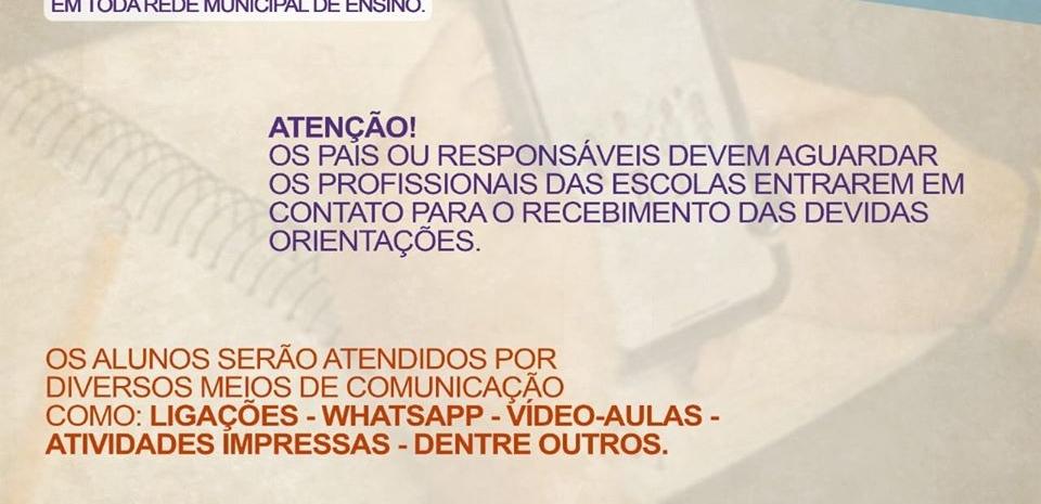 Educação inicia a partir de 13.05, as aulas (não presenciais) na rede municipal de ensino.