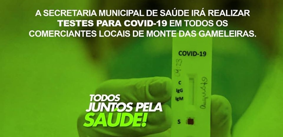 A prefeitura junto a Secretária de Saúde realiza testes para COVID-19 em  comerciantes locais.